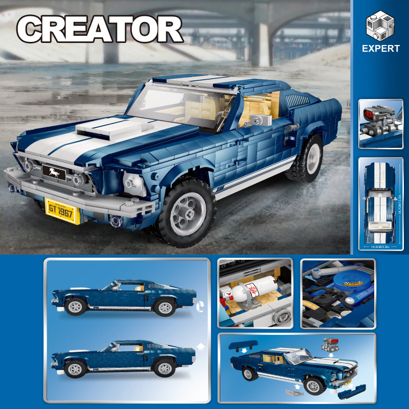 DG023 Ford Mustang Classic Car Building Blocks Bricks Technic Creator Expert Compatible LegoingLYS 10265 Model Kids Gift Toy
