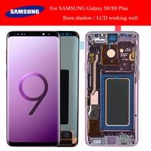 SÜPER AMOLED vardır Yanık Gölge LCD için Çerçeve ile SAMSUNG Galaxy S9 G960 S9 Artı G965 dokunmatik ekranlı sayısallaştırıcı grup