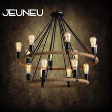 Pastoral Rustic Country Style Chandelier E27 LED American Village Retro Rope Chandelier Lighting Restaurant Hardware Lighting american village nordic crystal chandelier modern simple restaurant bedroom led lighting fixture led lamp chandelier lighting