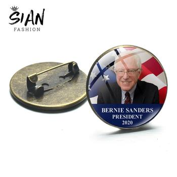 SIAN Bernie Sanders President 2020 Metal Badge US President 2020 Theme Glass Cabochon Dome Brooches Pin D Accessories Men Women image
