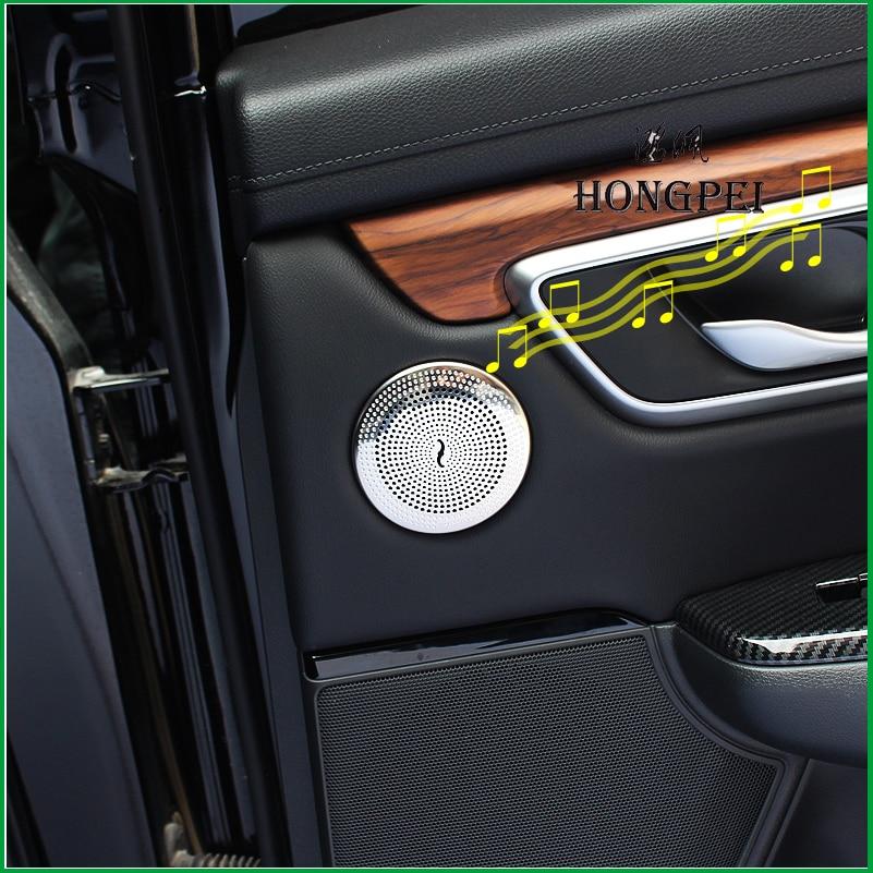 Buy For Honda CR-V CRV 2017 2018 2019 Interior Door Tweeter Speaker Ring Circle Cover Audio Sound Trim Sticker Car Styling for only 24 USD