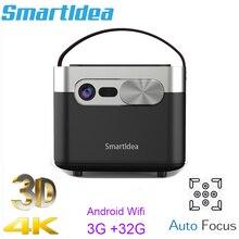 Smartldea جهاز عرض D25 عالي الدقة ، 1920 × 1080 ، 4K ، ثلاثي الأبعاد ، ANSI ، 1000 لومن ، Android (3G 32G) ، 5G ، wifi ، DLP ، تركيز تلقائي للفيديو