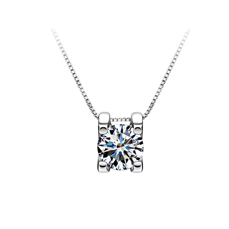 BOEYCJR 925 Silver 0.5ct/1ct/2ct F color Moissanite VVS Engagement Elegant Wedding Pendant Necklace for Women Anniversary Gift