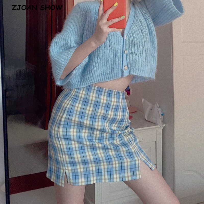 Summer Women Split Details Plaid Mini Skirt With Under Shorts Retro Front Double Slit Package Hips Gingham Check Short Skirts