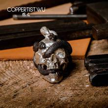 COPPERTIST.WU czaszka naszyjnik z wężem wisiorek S925 biżuteria srebrna edycja limitowana dekoracja gotyckie prezenty dla mężczyzn tylko 99 sztuk