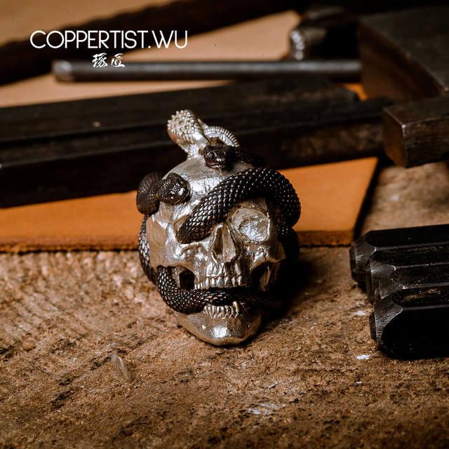 Coppertiste. Pendentif crâne de WU bijoux en argent collier sous forme de serpent, décoration en édition limitée, cadeaux gothiques pour hommes 99 pièces uniquement