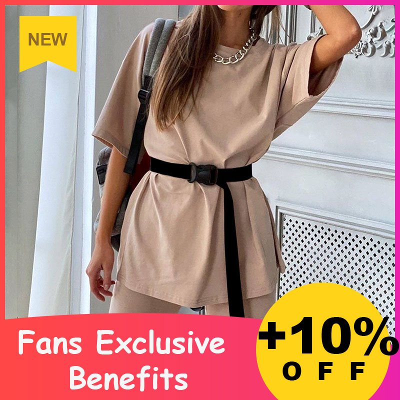 Simplee Suit Including-Belt Two-Piece Sports Solid-Color Fashion Casual Women's Home