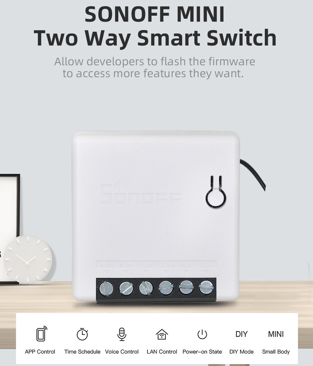 ITEAD SONOFF MINI DIY Smart Switch Two Way WIFI/LAN/APP/Voice Remote Control Work With External Light Switch Google Home Alexa