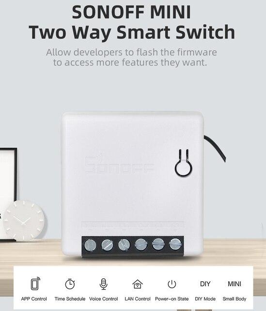Умный выключатель ITEAD SONOFF MINI DIY, двусторонний Wi Fi/LAN/APP/голосовое дистанционное управление, работает с внешним выключателем, светильник Google Home Alexa