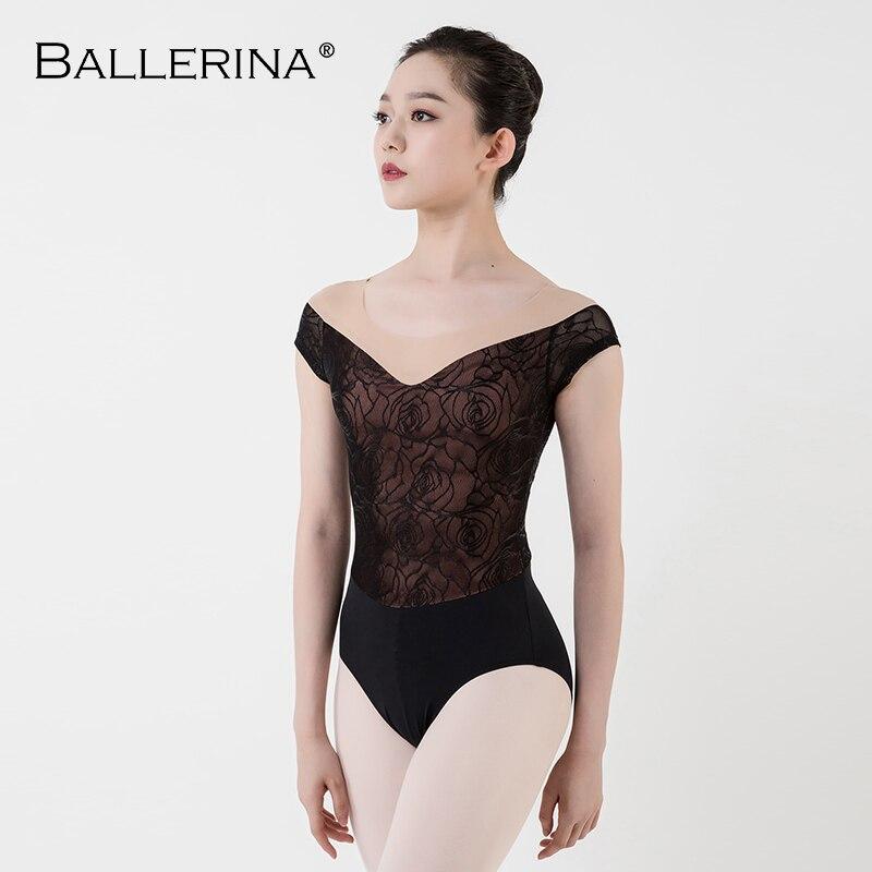 Ballet collant prática feminina manga curta traje de dança sexy malha ginástica rosa ouro rendas collants adulto bailarina 3503