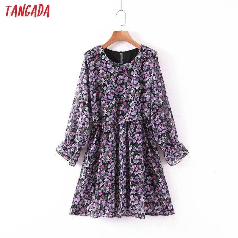 Tangada Fashion Women Flowers Print Chiffon Mini Dress Long Sleeve Ladies Vintage Short Dress Vestidos SL06