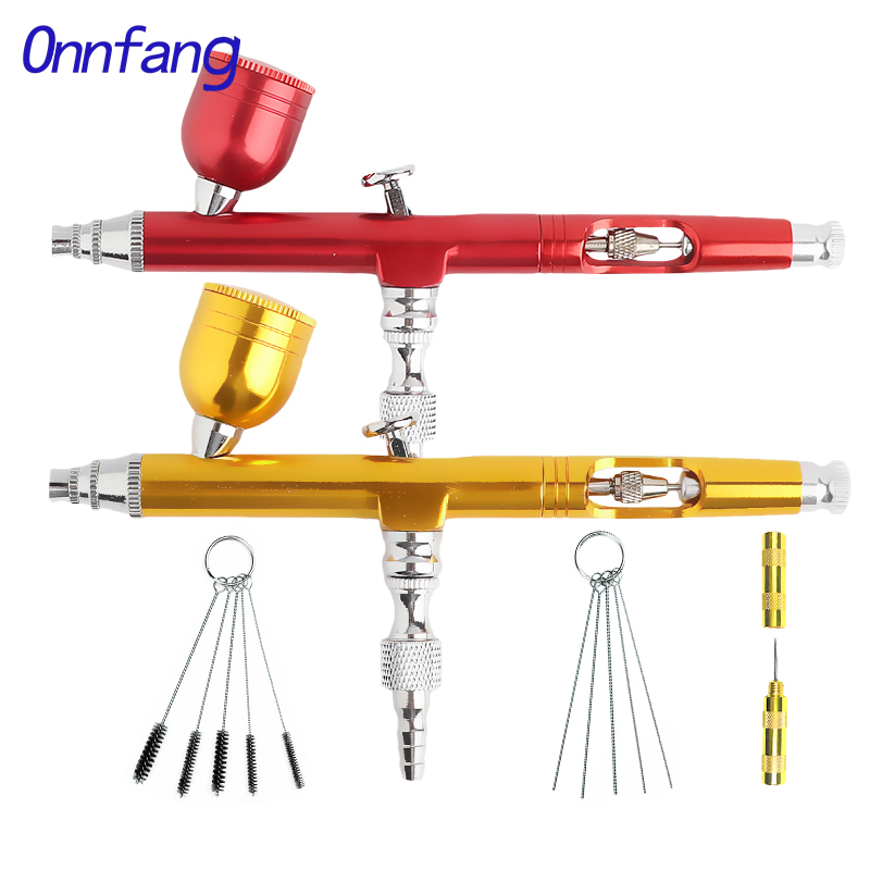 Onnfang Double Action Airbrush Adjust Gravity Feed Airbrush Spray Gun Set For Face Body Painting Tattoo Air Hose Airbrush