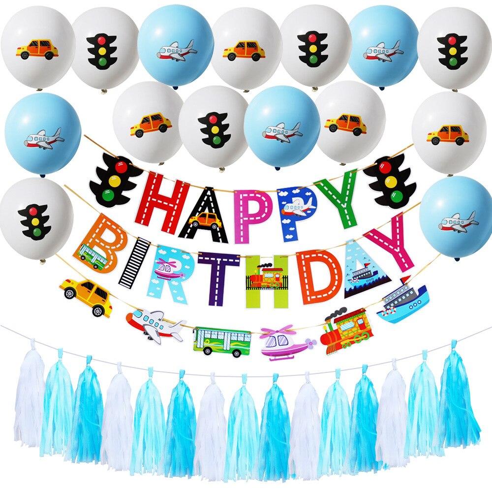 First Birthday Boy Party Happy Birthday Decoration Transportation Theme Party Car Plane Balloons Banner Decoration Supplies Party Diy Decorations Aliexpress