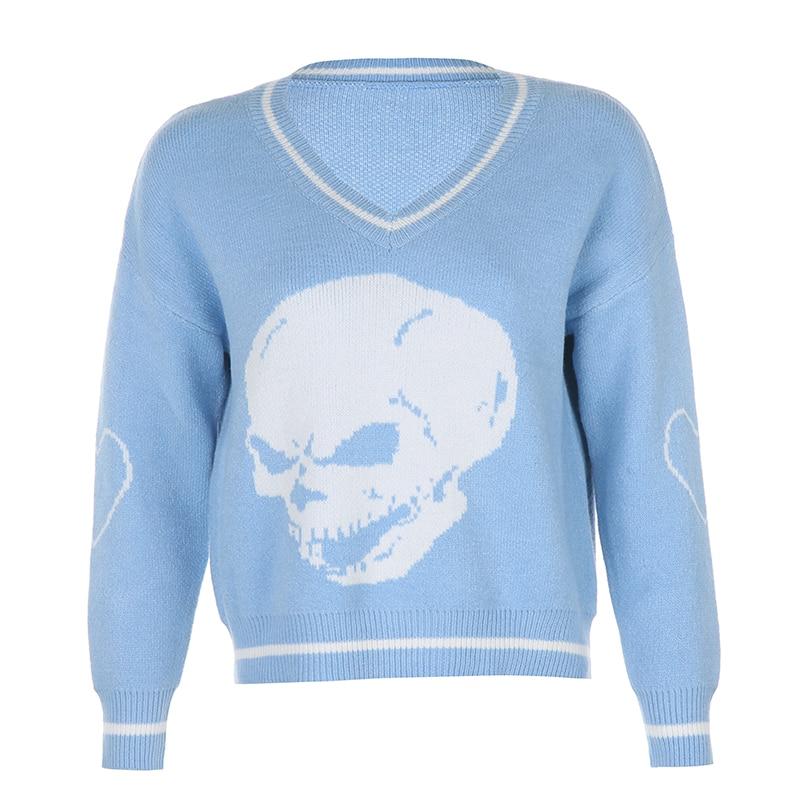 Darlingaga Harajuku Skull Print  Autumn Winter Sweater  5