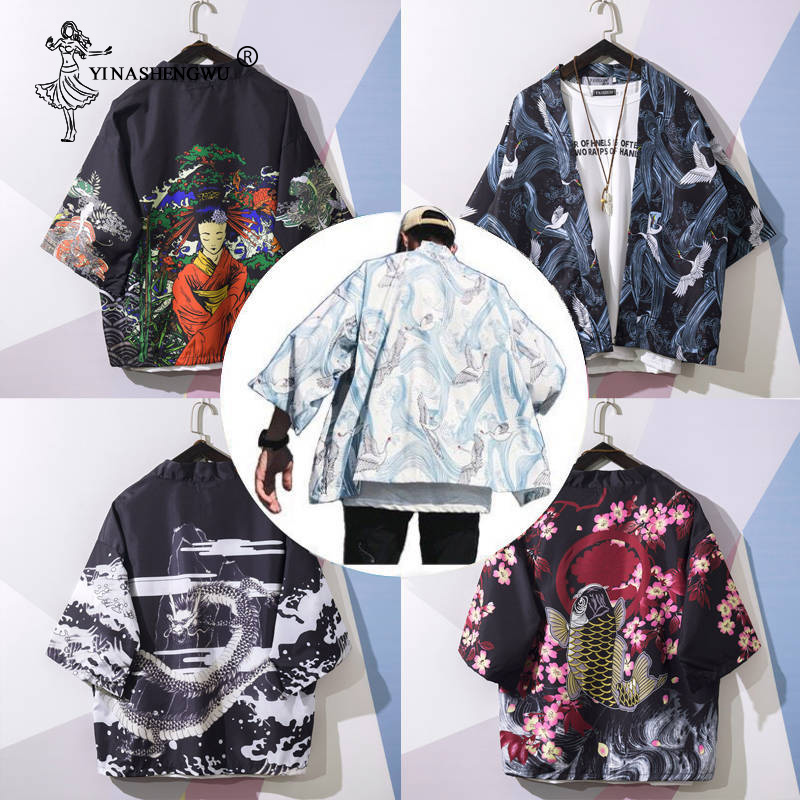 Yukata Women Kimonos Cardigan Men Japanese Kimono Traditional Unisex Harajuku Beach Loose Thin Shirt Asian Japan Cosplay Costume