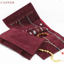 CANNER Velvet Jewelry Roll Bag Travel Jewelry Organizer Storage Case Pouch for Necklaces Rings Bracelets Portable Practical C40