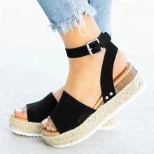 2019 New Women Leather Shoes Suede Wedges High Ankle Sandals Round Toe Leopard Slope Head Casual
