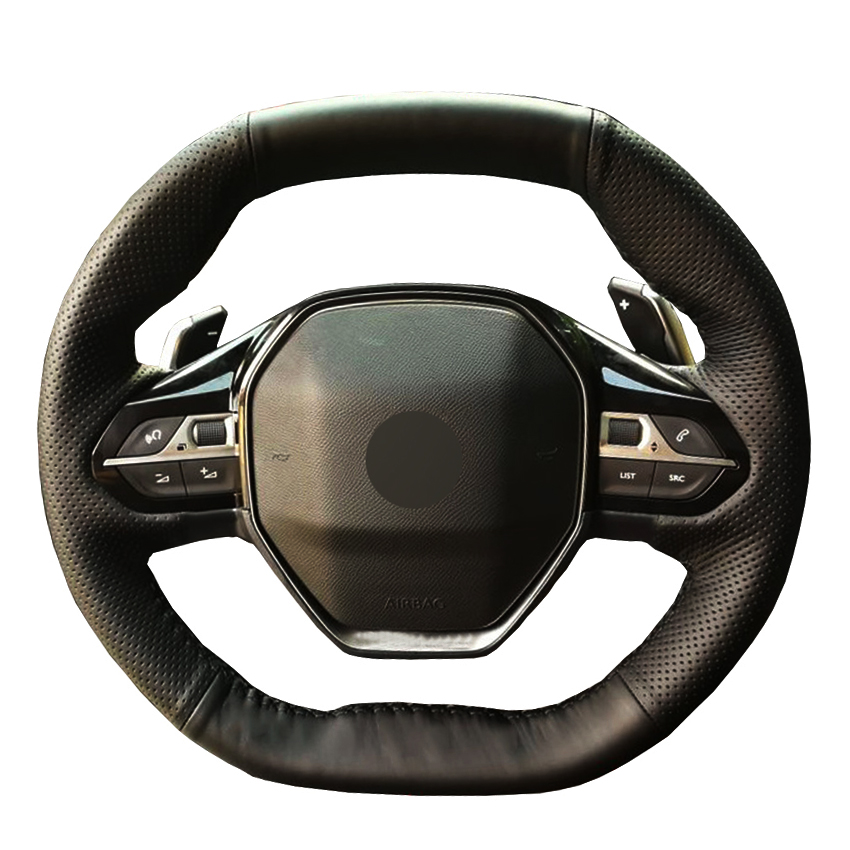 Black PU Faux Leather Hand-stitched Car Steering Wheel Cover for <font><b>Peugeot</b></font> 3008 4008 5008 2016-2019 508 <font><b>208</b></font> 2019 <font><b>2020</b></font> e-<font><b>208</b></font> <font><b>2020</b></font> image