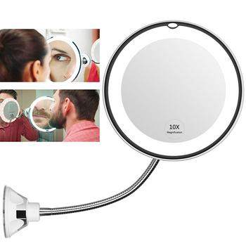 360 stopni obrót lustro do makijażu Sucker elastyczne lustro kosmetyczne HD 10X powiększające z LED Light lusterka do makijażu przybory kosmetyczne tanie i dobre opinie Wyposażone Makeup Mirror Plastic Batteries not included 10X Magnifying