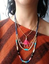 купить Rose Pink Tassel Necklace Women Multi Layers Chain Long Bohemian Necklace Accessories Vintage Ethnic Summe Style Fashion Jewelry дешево
