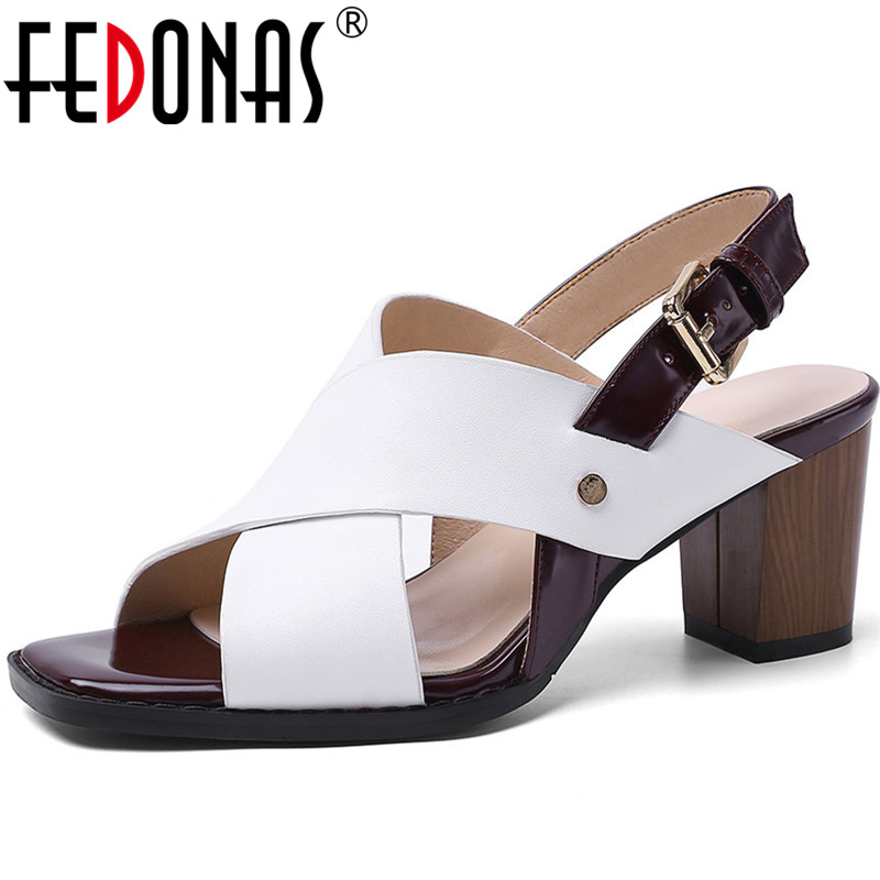 FEDONAS  New Arrival Women Night Club Party Pumps Spring Summer Metal Decoration Shoes Slap On Genuine Leather Shoes Woman