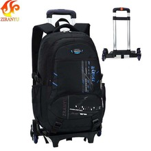 ZIRANYU High capacity Student Shoulder Backpack Rolling Luggage Children Trolley Suitcases Wheel Cabin Travel Duffle School Bag