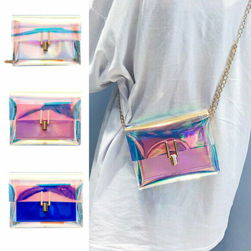 2019 The Newest Fashion Bags Suit More Clothing Women Holographic Bag Clear Transparent Tote Hologram Handbag Purse Laser