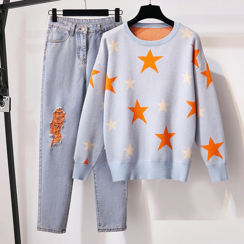 Plus Size Sweater And Denim Pants Two Piece Set Women Fashion Stars Jacquard Loose Pullover Jumper And Hole Pencil Jeans Suit