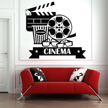 Cinema Vinyl Wall Decal Movie House Popcorn Cinematography Art Wall Stickers Home Decoration Accessories For Teen Bedroom Y777 image