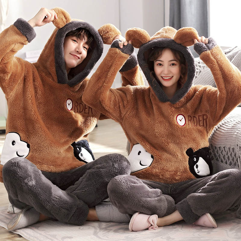New Unisex Adult Cute Winter Couple Pajamas Warm Thickening Hooded Male Pajamas Set Long Sleeve Sleepwear Cute Cartoon Home Suit