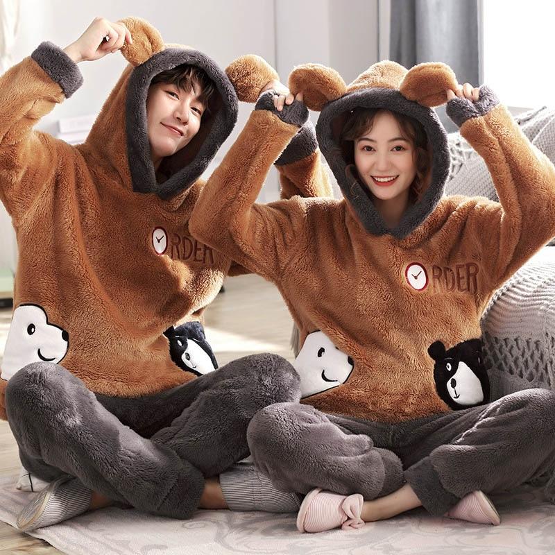 New Unisex Adult Cute Winter Couple Pajamas Warm Thickening Hooded Male Pajamas Set Long Sleeve Sleepwear Cute Cartoon Home Suit