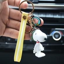 2019 Cute Cartoon Charlie Brown Peanut Dog Keychain silicone For Ladies Creative Car Bag Charms Accessories Anime Keychains