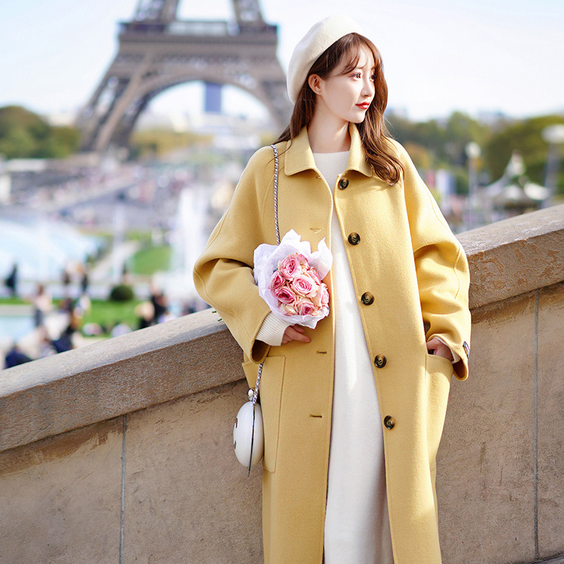 Autumn 2019 Single-breasted Goose-yellow Cashmere Double-faced Overcoat Single Breasted Women Long Coat