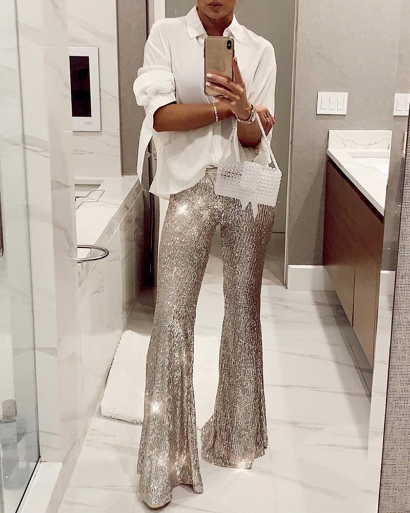 Silver Sequin Trousers Women Sequin   Wide     Leg     Pants   Female Hight Waist Flared   Pant   Disco Dance Woman Long   Pants