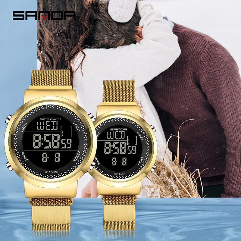Lovers Watches Luxury Quartz Wrist Watch For Men And Women Multifunctional Digital Waterproof Steel Milanese Couple Watch