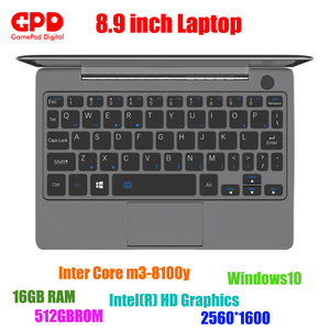 Chegada nova gpd p2 max 8.9 Polegada portátil tela de toque inter core m3-8100y 16 gb 512 gb mini pc bolso portátil notebook windows10