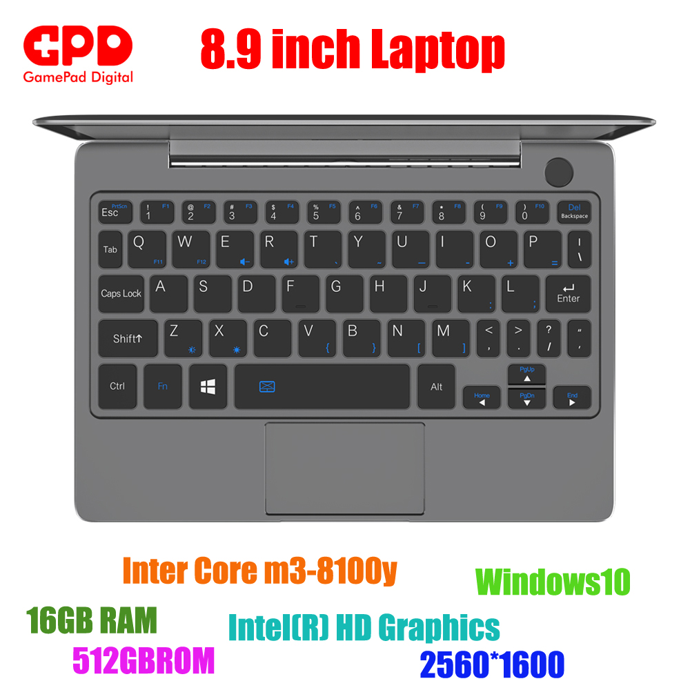 New arrival GPD P2 Max 8.9 Inch laptop Touch Screen Inter Core m3-8100y 16GB 512GB Mini PC Pocket Laptop notebook Windows10 image