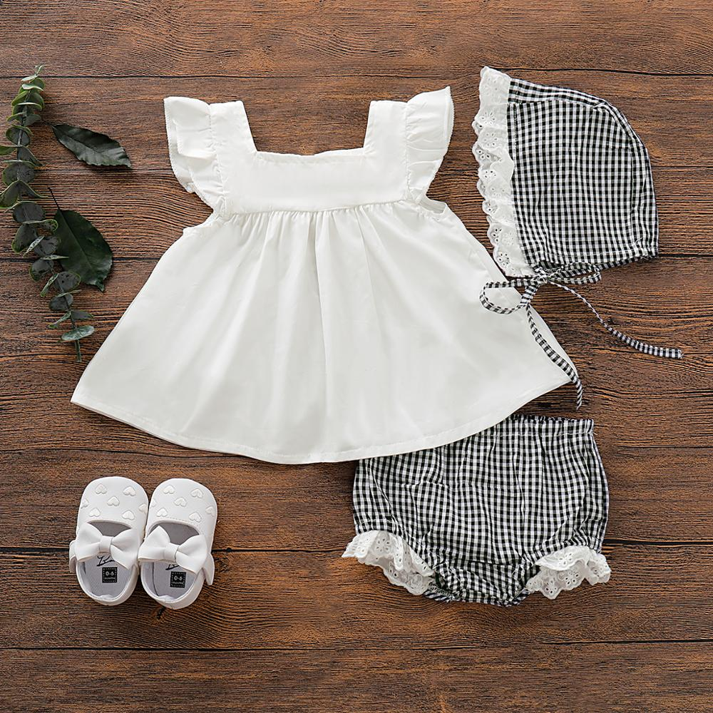 PatPat 2020 New Summer 3-piece Baby Toddler Flutter-sleeve Top And Plaid Style Shorts With Hat Sets