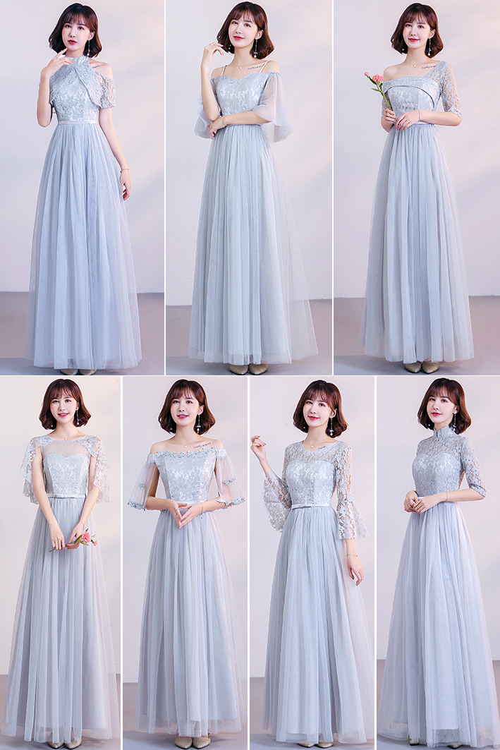 Long Dress For Wedding Party For Woman Gray Plus Size Bridesmaid Dresses Elegant Vestido Azul Marino Sexy Prom Club Dress Simple