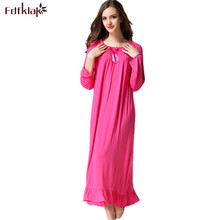 Fdfklak 2020 Spring Autumn Long Sleeve Print Tracksuit For Women Cotton Sleepwear Vintage Night Gowns Sleeping Dress M XXL Q414
