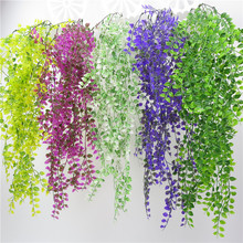Artificial Weeping Willow Plant Vine Wall Hanging Home Balcony Garden Decoration Fake Flower Peach Leaf Rattan Green Plant Ivy