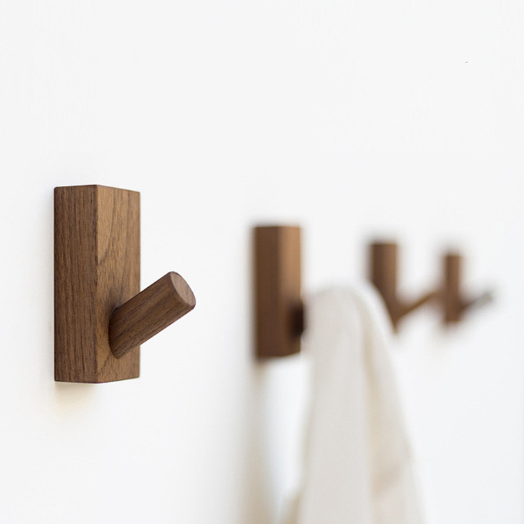 Japanese Solid Wood Hook Door Coat Hanger Bedroom Hanging Clothes Hook Clothing Store Wall Organizer Bathroom Towel Hanger