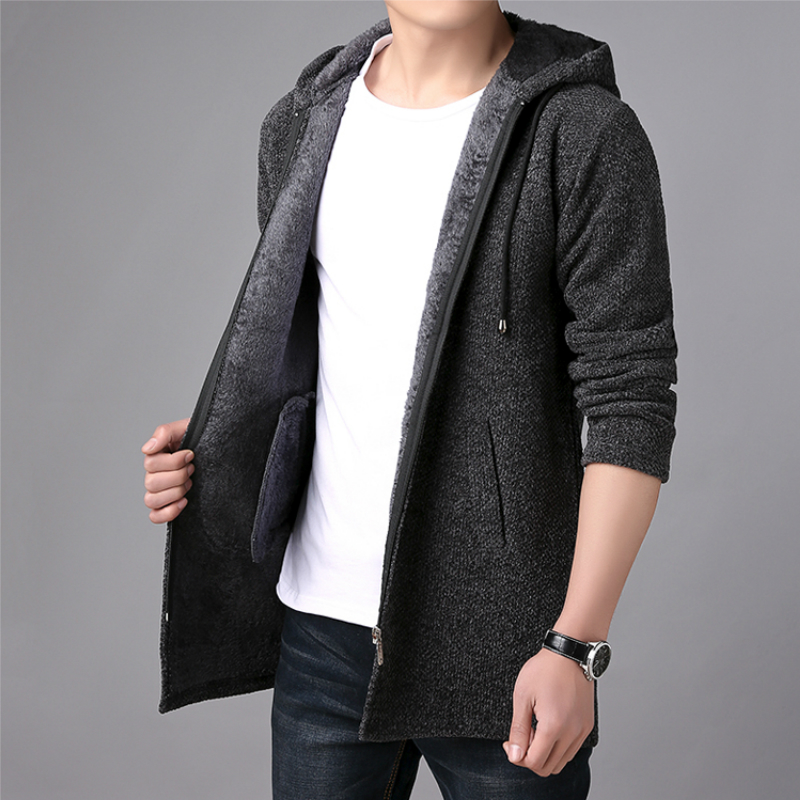 New Mens Sweater Autumn Winter Thick Warm Long Cardigan Men Hooded Sweater Coat Male Cardigan Sweater Jacket Casual Clothes