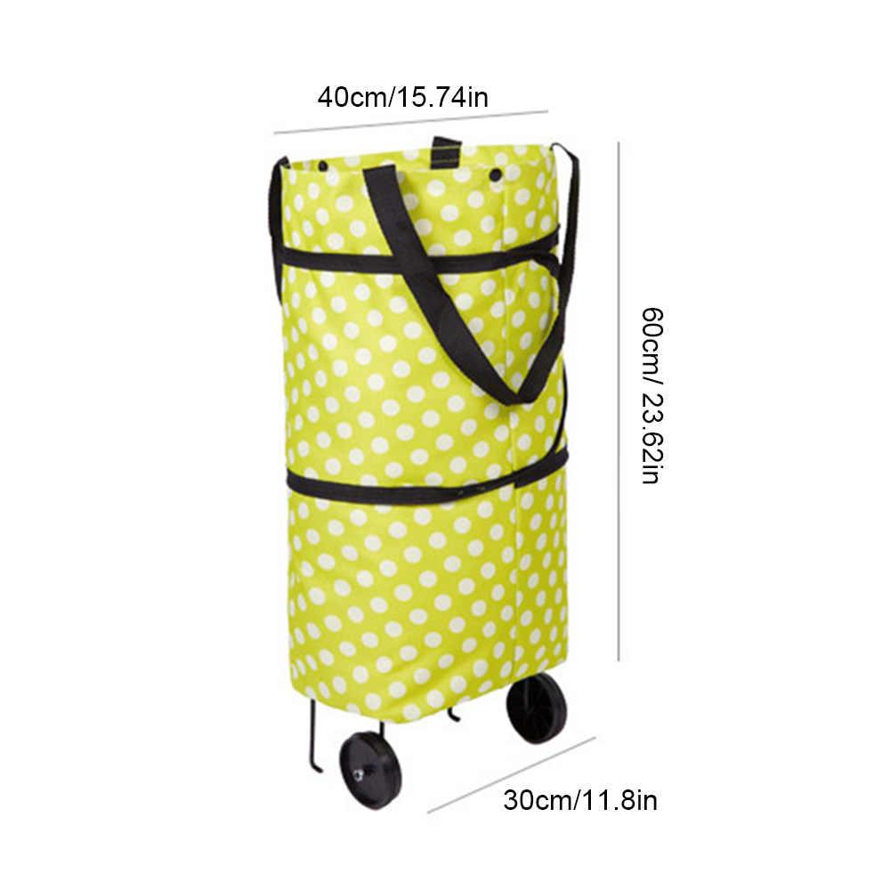 2 koła składane zakupowe bagaż na kółkach torba z uchwytem do przechowywania bagażu podróżnego