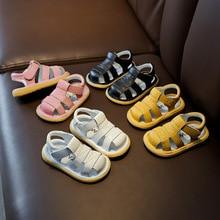 Baby Girls Boys Summer Sandals Infant Anti-collision Toddler Shoes Soft Bottom Genuine Leather Kids Children Beach Sandals