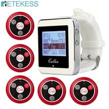 Retekess garçom sistema de chamada sem fio para restaurante escritório bar pager serviço relógio receptor + 5 botões chamada garçom f3288b