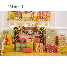 Laeacco Photography Backdrops Merry Christmas Luxury Gifts Fireplace Pine Deer Bauble Interior Background Photocall Photo Studio