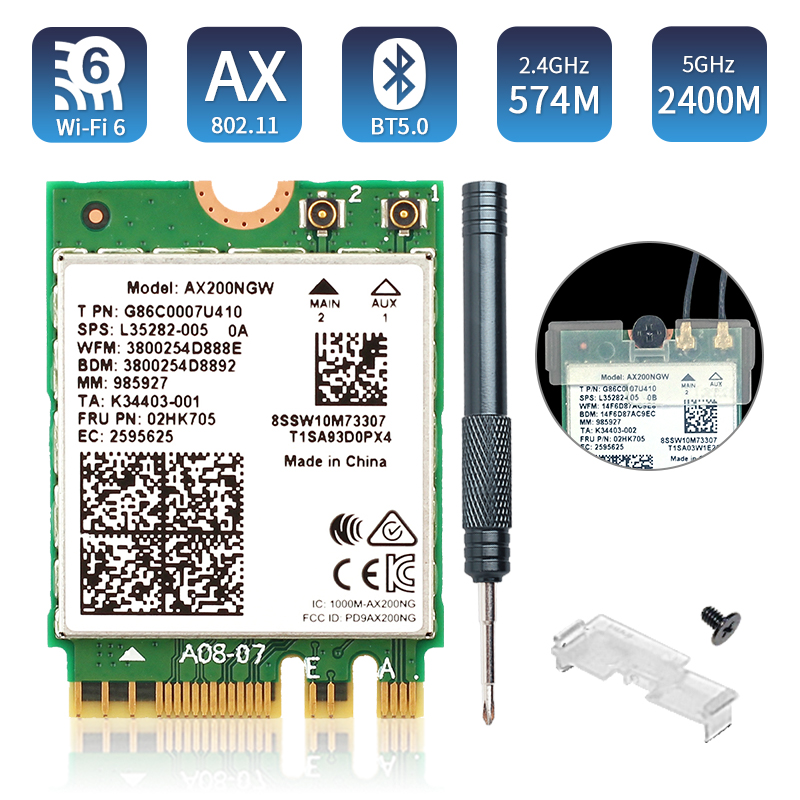 Dual Band 2974Mbps Wireless Wi-Fi 6 AX200NGW NGFF M.2 Wifi Bluetooth 5.0 Network Card 2.4G/5G 802.11ac/ax AX200 Wlan