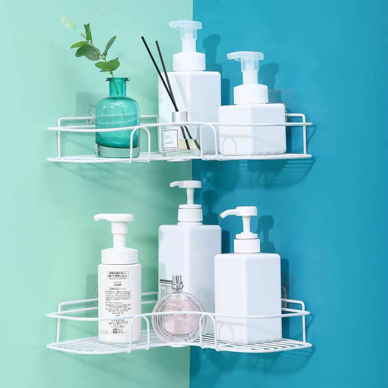 -Bezpłatny rogu łazienka półka regał do przechowywania szampon uchwyt do przechowywania w kuchni Rack organizator ściany półka uchwyt do łazienki półka półki