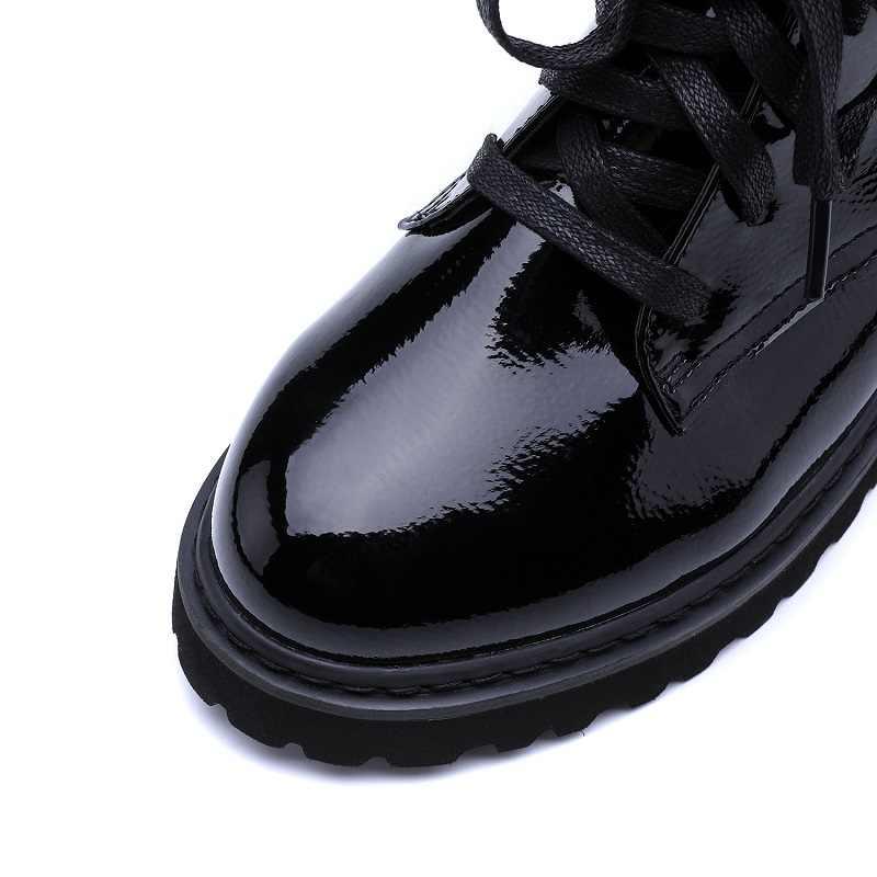JCHQD/женские ботинки наивысшего качества с натуральным мехом; Ботинки martin на шнуровке; женские ботильоны на меху; зимняя теплая женская обувь; европейский размер